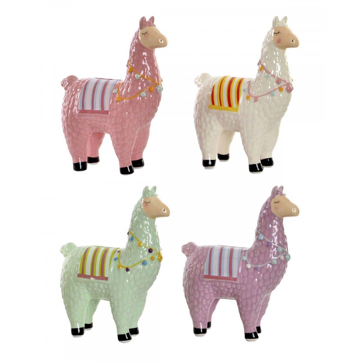 Hucha Llama//Alpaca de Porcelana Hay 4 Colores a Elegir Original//Colorida de Estilo Infantil 12X6X19 cm.-Hogarymas- Amarillo