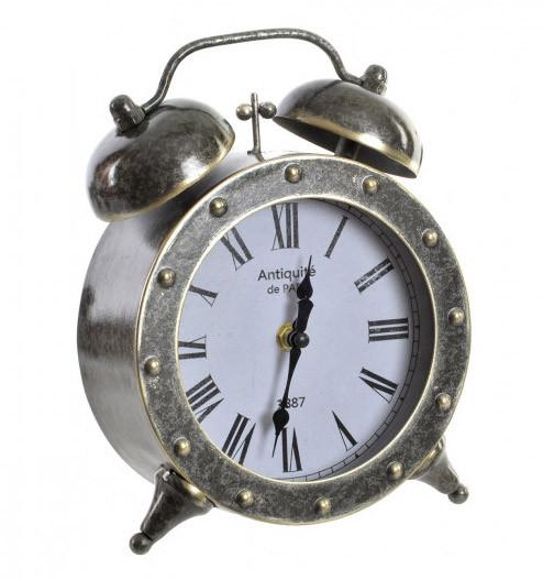 Reloj Despertador de Sobremesa en Metal, Ambiente Industrial y Decorativo. Ideal para decorar Vintage/Realista 17,5X7,5X22,5 cm