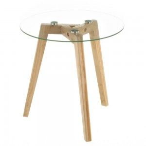 Side table Round, Glass and Wood, Small. Ideal for living Room/Kitchen. Nordic design (40cm X 40cm X 40cm) - Home and More