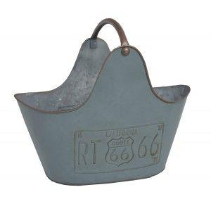 Revistero de Suelo Metálico en color Azul. Diseño Route 66 con Estilo Original/Vintage 33X23X42 cm
