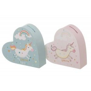 Hucha de Unicornio, con forma de Corazón. Diseño de Fantasía, con estilo Infantil (16cm X 5cm X 14,5cm) - Hogar y Más