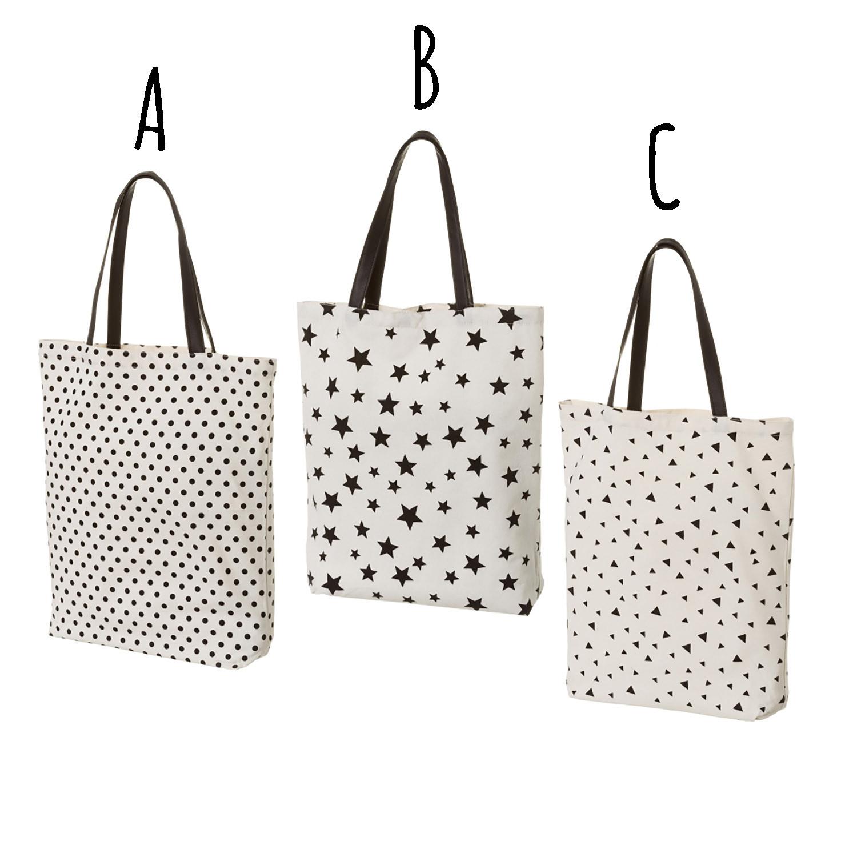 Bolsa de Tela con Asas, de color Blanco y Negro. Diseño Moderno, con estilo Juvenil (38cm X 8cm X 42cm) - Hogar y Más