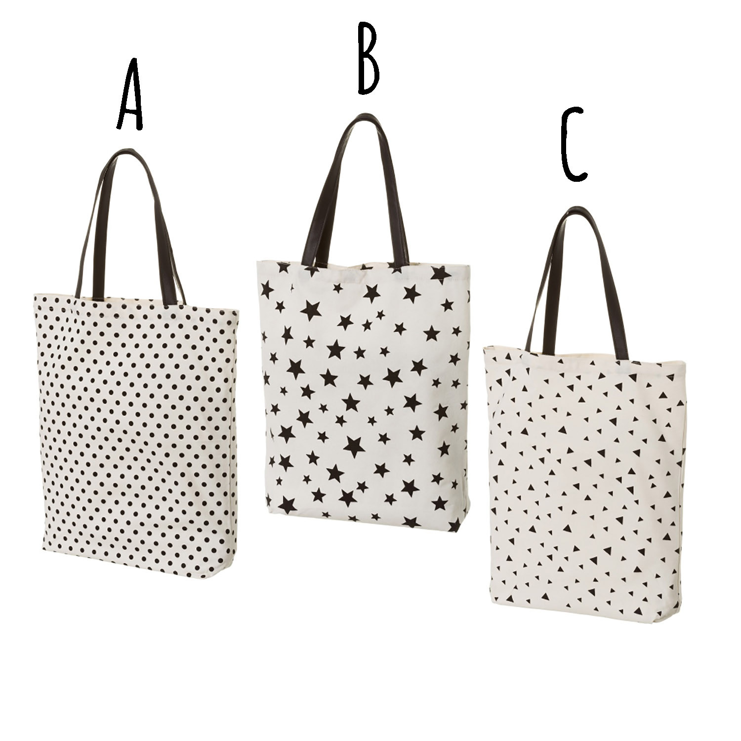 Cloth bag with carrying Handles, White and Black color. Modern design, Youthful styling (38cm X 8cm X 42cm) - Home and More