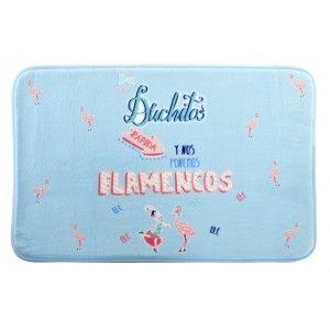 Alfombra Baño/Ducha Azul, Estilo Original y Divertido. Con Diseño de Flamencos 60x40cm.-Hogarymas-