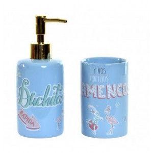 Juego/Set de Baño 2 Piezas en Dolomite, Color Azul. Diseño Flamenco con Frase Alegre y Original 8X7X17,5 cm