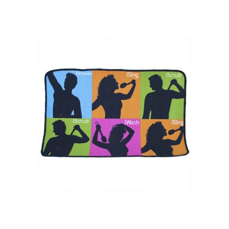 Alfombra de baño textil de colores muy divertida. De 50x75 cm.