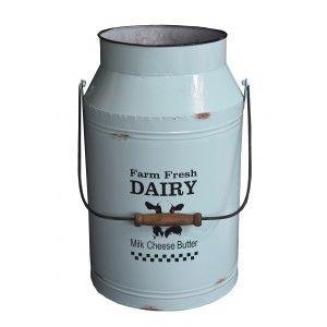 Planter box Decorative Vintage Blue Metal for Interior/Exterior. Original in the form of Dairy 20,5x44,5x26,5 cm