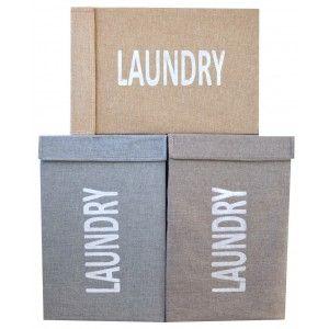 Cesto para la Ropa Plegable, Textil, de colores Neutros. Diseño Lavandería, con estilo Basic - Hogar y Más