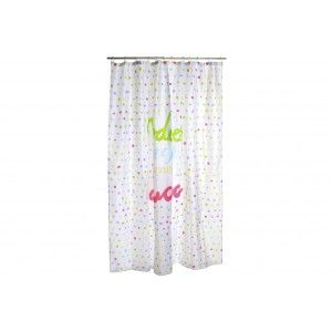 "Curtain Bath/Shower with Dots multi-color, Original Design and Fun. With Phrase Cheerful ""Everything is better"" 180X200"
