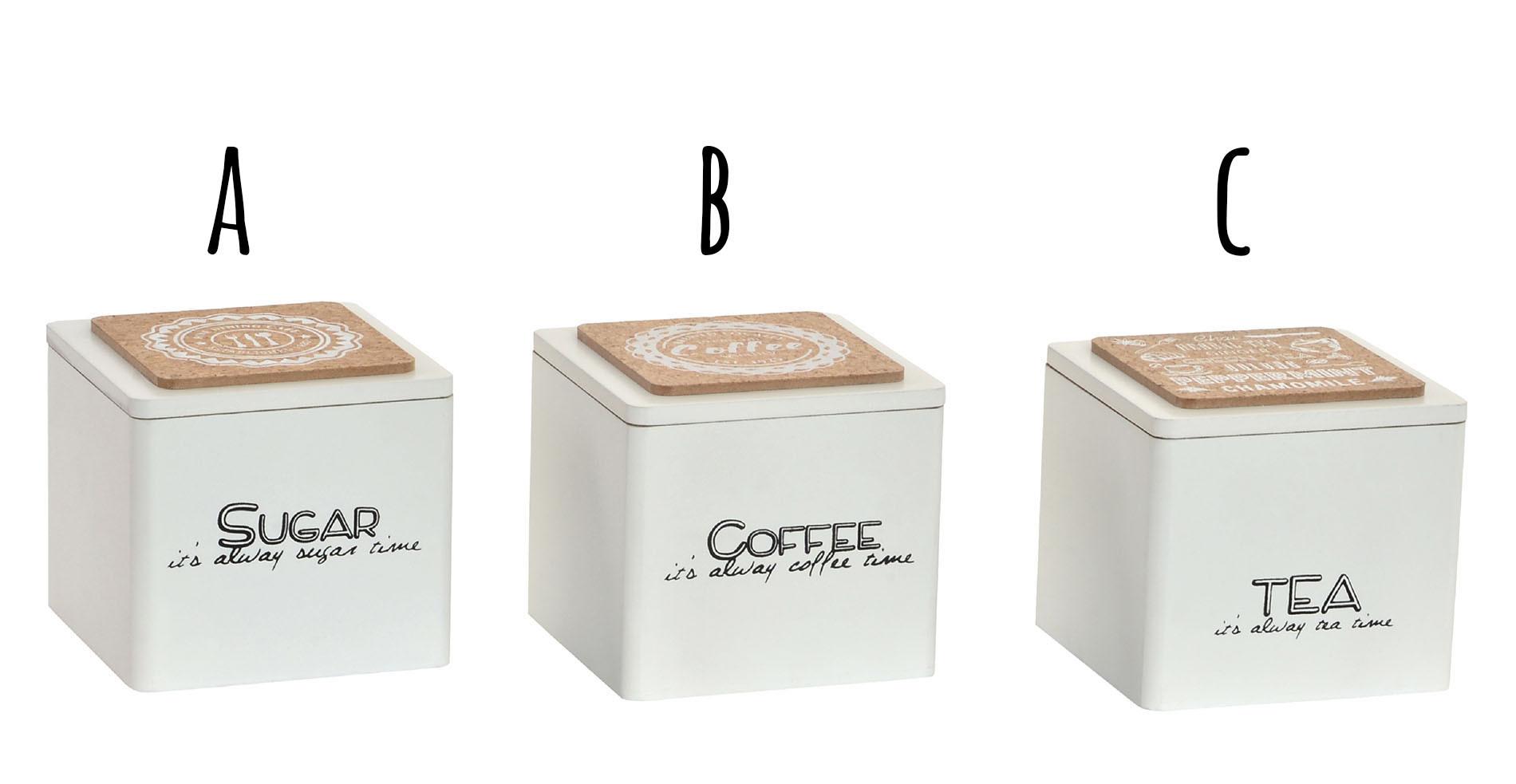 Bote Cocina para Cáfe, Azucar y Té de Madera y Corcho, 3 Modelos a elegir. Diseño Original 10X10X10 cm.-Hogarymas-