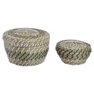 Basket Storage Decorative Natural Rattan Set of 2. Braided design Black with Ethnic Style 26X26X16 cm
