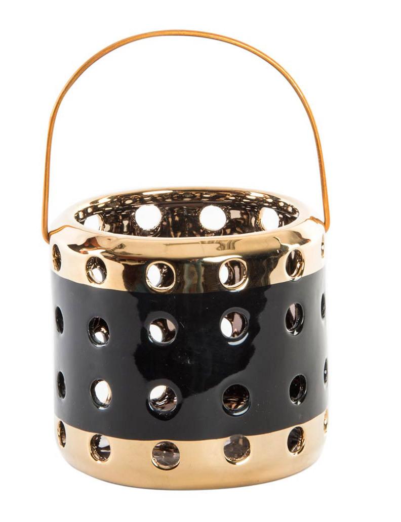 Candle holder Decoration Gold Porcelain/Metal. Original design of Holes 11,7X11 cm-Hogarymas-