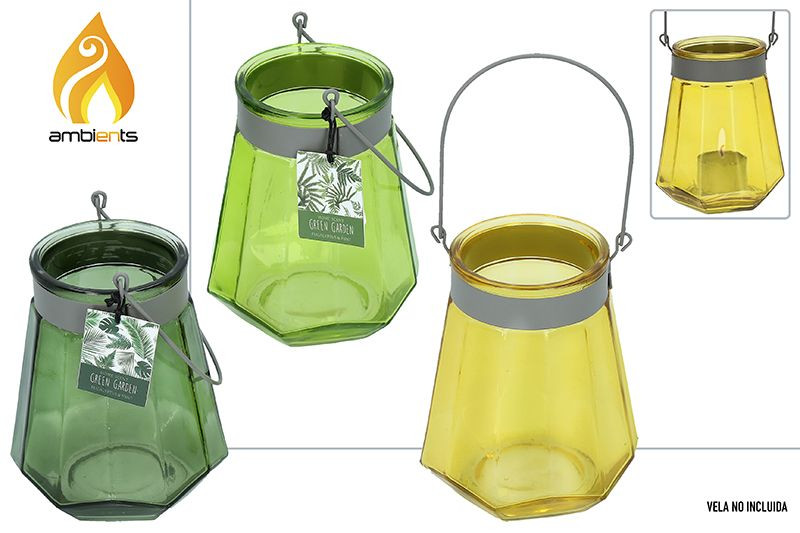 Candleholder Decorative Glass, Large, with Handle, ideal for Garden. Original design, with style Decogarden - Home and More