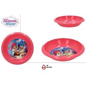 Plato Hondo de Plástico Duro, Reutilizable, para Niños, Color Rosa, 260ML. Modelo Shimmer & Shine, estilo Infantil - Hogar y Más