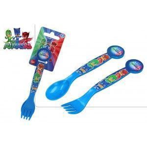 Cubiertos de Plástico Duro, Reutilizables, para Niños, de Color Azul. Modelo PJ Masks, estilo Infantil. Set de 2 - Hogar y Más