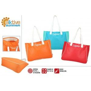 Beach bag Large with Zipper and Shoulder Handles. Design Summery, Classic style (51cm X 37cm X 2cm) - Home and More