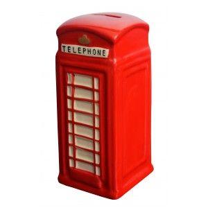 Hucha Cabina Teléfonica de Londres muy Original, realizado en Cerámica. Diseño Londinenese/Realista 17x7x7 cm