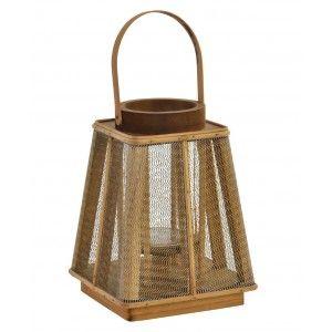 Portavelas Decorativo de Bambú y cristal con Asa, en color Natural. Diseño Original/Vintage 19X19X25 cm