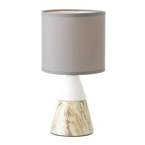 Table lamp, made of Ceramic, White and Beige. Design of Marble, with Modern style - Home and More