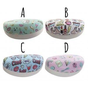 """Funda/Estuche gafas Niña """"Teen Fashion"""". Diseño de Stickers, 4 Originales Modelos a elegir 16,5X8X7 cm."""
