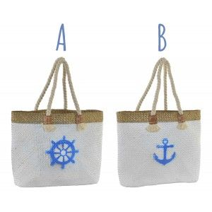 Beach bag/carry Cot, Large, with Handles of Rope. Design Summer, with Seafaring style (45cm X 36cm X 14cm) - Home and More