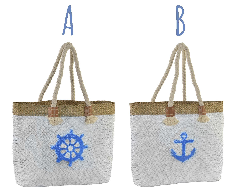 Bolsa de Playa/Capazo Grande, con Asas de Cuerda. Diseño Veraniego, con estilo Marinero (45cm X 36cm X 14cm) - Hogar y Más