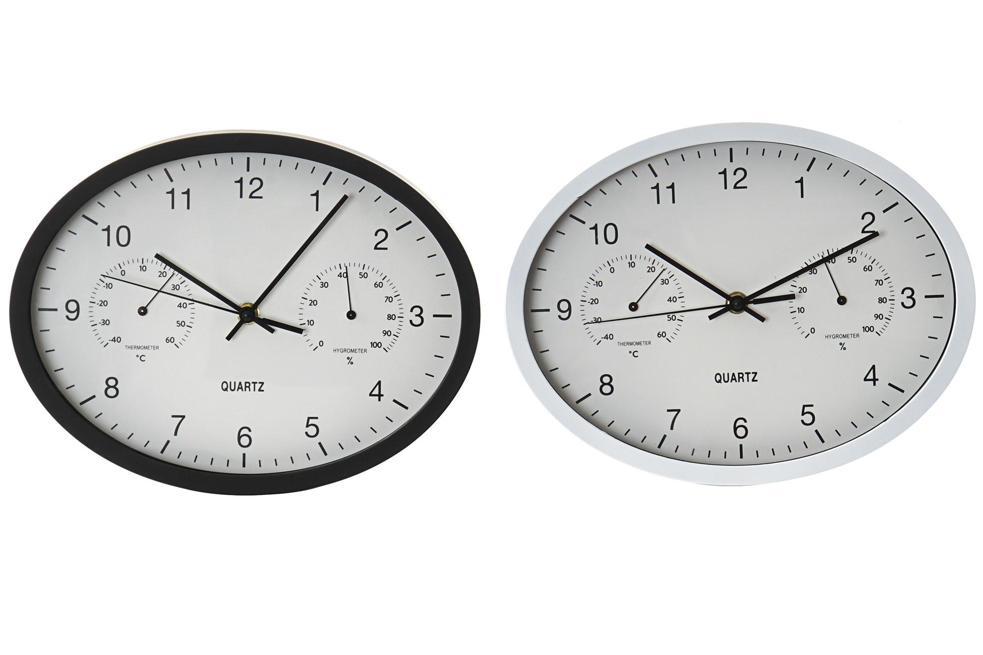7c9d99c66 Reloj Pared Analógico Ovalado, con Temperatura y Humedad. 2 Modelos a elegir,  Diseño Moderno/Original 29X4X23 cm - Hogar y más