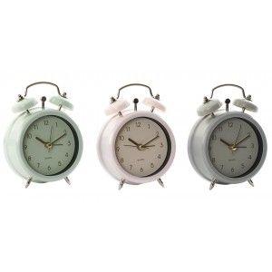 Reloj Despertador Analógico de Sobremesa, realizado en Metal. Diseño Vintage/Original. 3 Modelos a elegir 8X3,5X10 cm