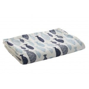 Baby blanket Unisex, with Double-Sided, White and Blue. Design of Fish, with Original style (100cm X 70cm) - Home and More