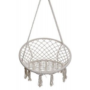 Chair/Hammock Hanging, Cotton, color Beige, for Garden. Design Macrame, Boho. Maximum weight 120Kg - Home and More