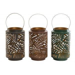 Portavelas Decorativo Grande, de Metal, con Asa para Colgar. Diseño Original, con estilo Tropical (11,5cm X 20cm) - Hogar y Más