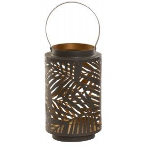 Candle holder Decorative Large, Metal, with Handle for Hanging. Original design with Tropical style (11.5 cm X 20cm) - Home and