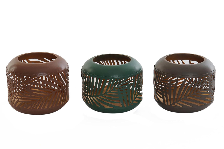 Portavelas Decorativo Pequeño, fabricado en Metal. Diseño Original, con estilo Tropical (9cm X 8cm X 9cm) - Hogar y Más