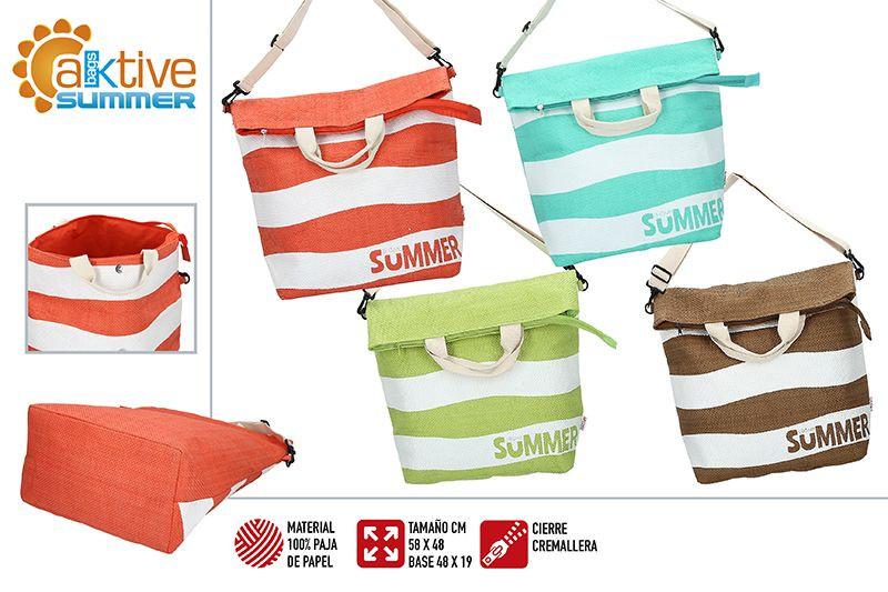 Bolsa de Playa Grande, con Cremallera y Asa Regulable. Diseño Veraniego, con estilo Moderno (58cm X 48cm X 19cm) - Hogar y Más