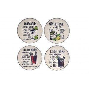 Posavasos set de 4, Realizado en Dolomite. Diseño Cocteles con Estilo Original  10,7X10,7X0,7 cm