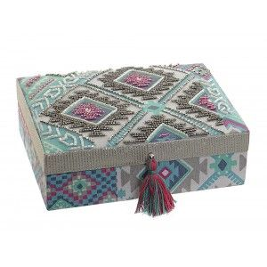 Jewelry box Organizer multi-color, Cotton, with Mirror and finish Embroidery. Ethnic design with Bohemian style - Home and More