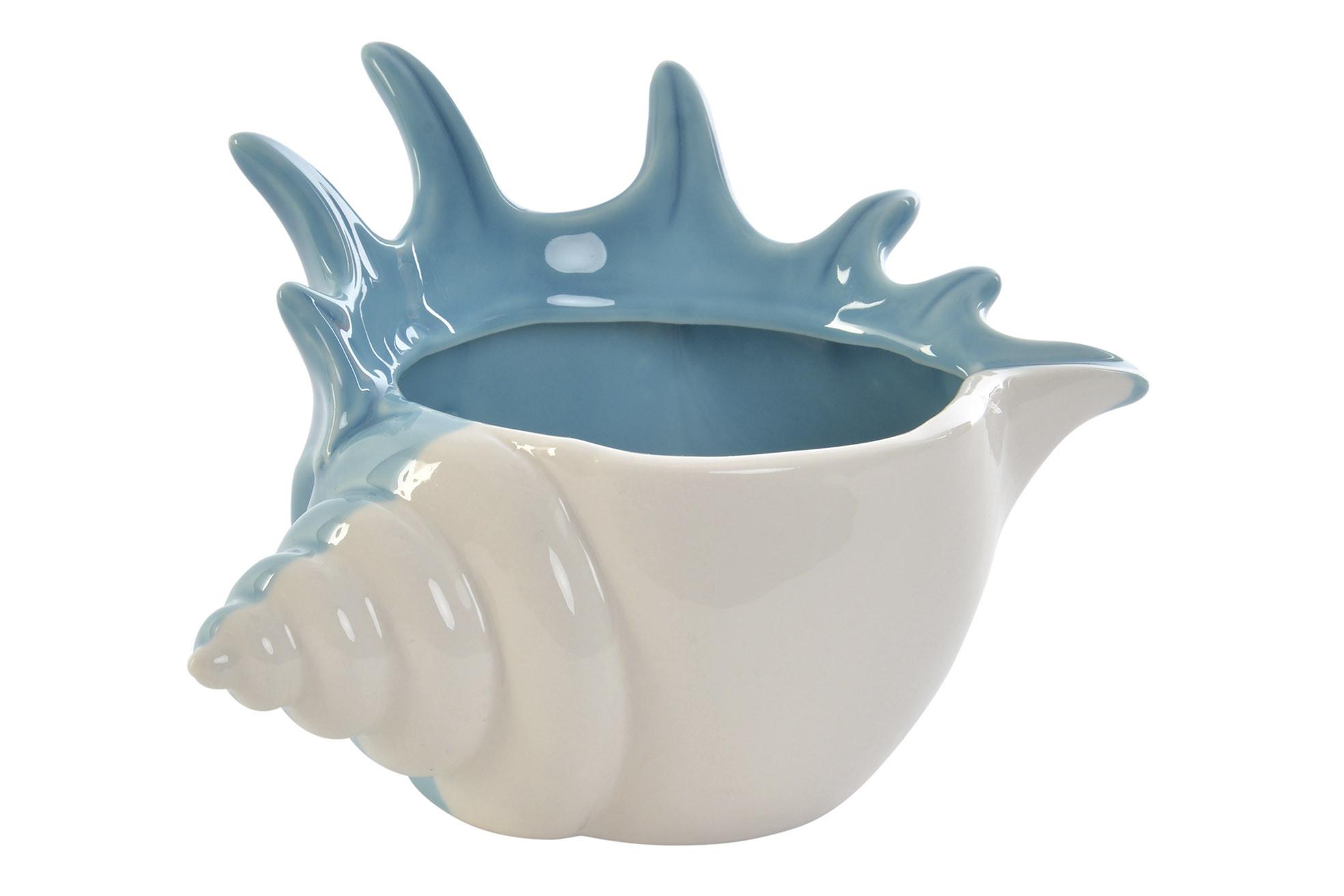 Portavelas Decorativo, realizado en Porcelana, de color Blanco y Azul. Diseño de Caracola, con estilo Marinero - Hogar y Más