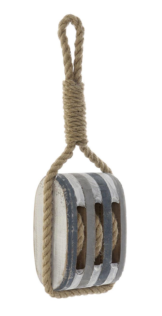 Sujetapuertas Decorative Wooden with Rope, Original Design/Vintage. Distressed finish 16X10X44 cm