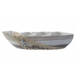 Candleholder Decor Maritime Wooden, and Metal, Design Boat Grey for 3 Candles. Original style 29X7X7 cm