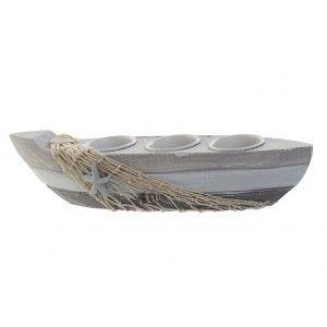 Portavelas Decoración Marinera de Madera y Metal, Diseño Barca Gris para 3 Velas. Estilo Original  29X7X7 cm