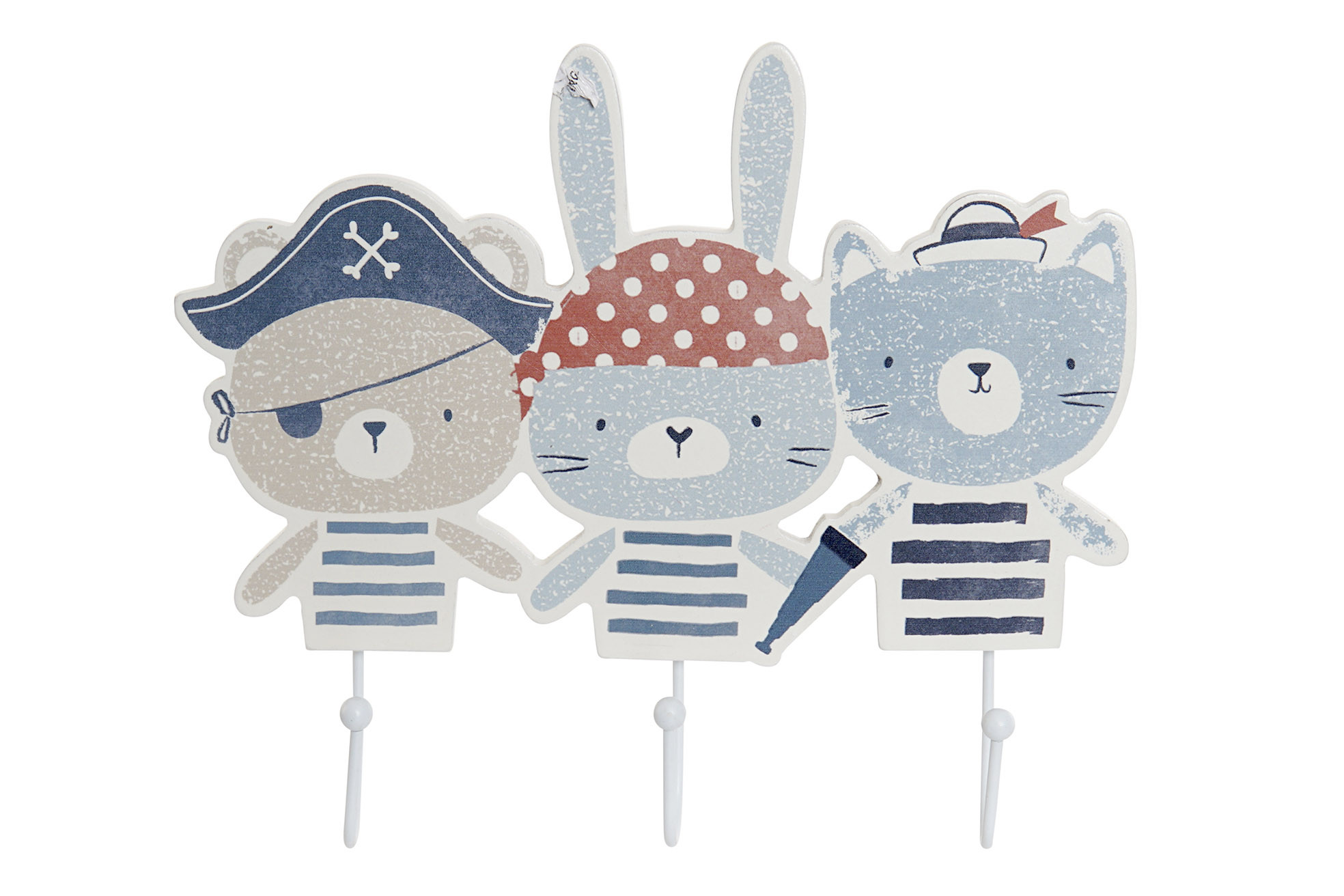 Coat rack Wall Child of Wood, with 3 Hooks, for Child. Funny little Animals, Pirates 23,5X4X20 cm
