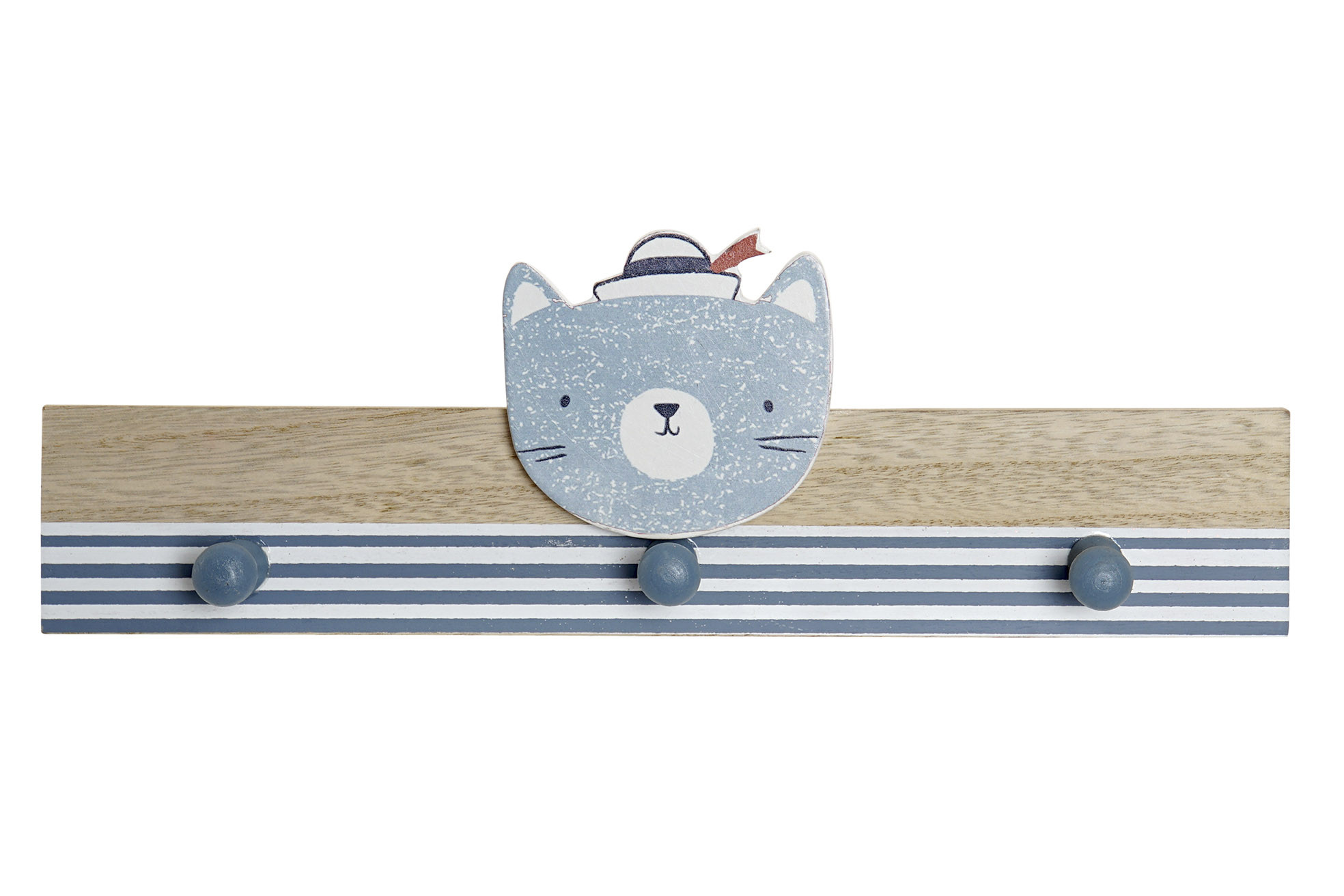 Coat rack Wall Child of Wood, with 3 Hook. Design Dog a Sailor to Children 33X4X11 cm