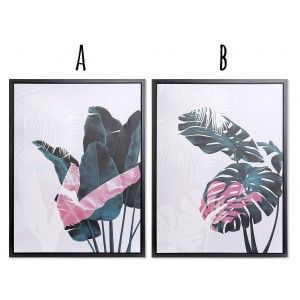Box Canvas with a Wooden Frame, 2 Models to choose from. Design Leaves Tropical 60X2,7X80 cm