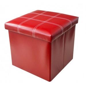 Puff Asiento Almacenaje Acolchado, de color Rojo. Diseño Elegante/Práctico  38x38x38cm.-Hogarymas-