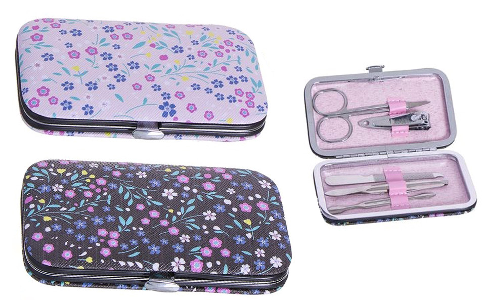 Manicure Set with Scissors and nail clipper Kit Pedicure Lima, retiracutículas and clamp. 2 Models Floral 10,8X6,3X1,8 cm