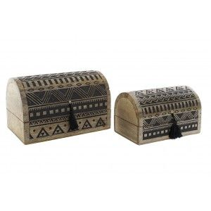 Jewelry box Trunk set of 2, ideal for Organizing your Jewelry. Design Carved/Geometric 23X15X15 cm