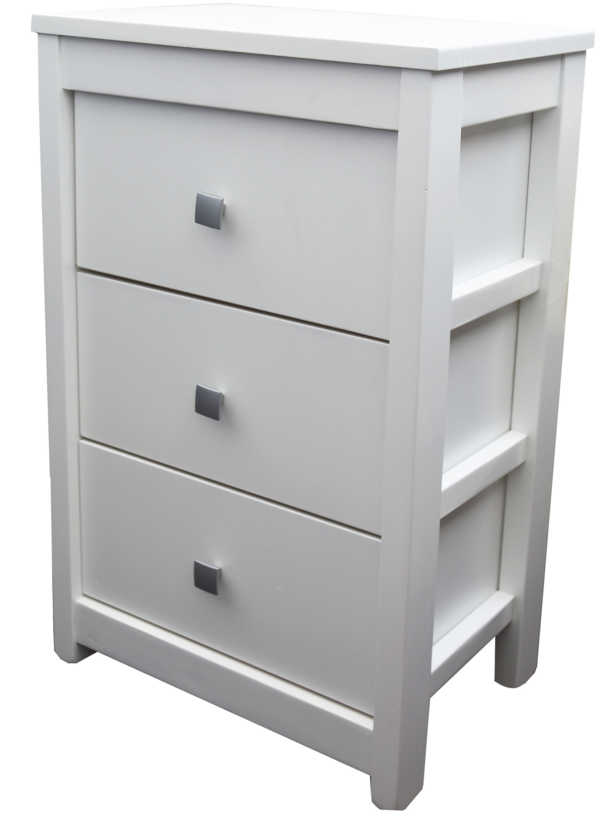 White drawer Natural Wood with 3 Drawers. Modern design, Ideal for Bedroom/living Room 40x62x26,5 cm