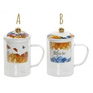 Cup of Teas or Tea with a Lid and Filter Glass. 2 Models, floral Design/Original 2X8,3X14,7 cm 300 ml