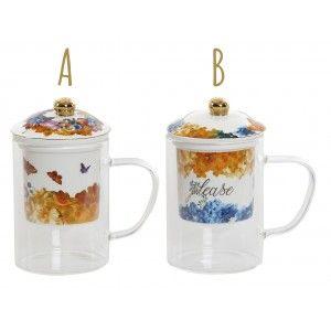 Taza de Infusiones o Té con Tapa y Filtro de Cristal. 2 Modelos, Diseño floral/Original 2X8,3X14,7 cm 300 ml
