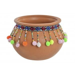 Planter Terracotta with pom-Poms and Colourful, Ideal for Exterior/Interior. Ethnic design 14x10,2 cm